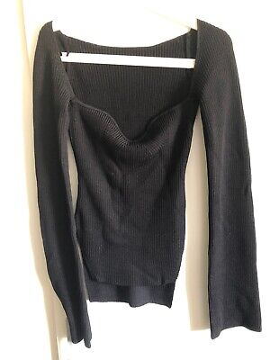 Inspired By Khaite Ribbed Black Top Long Sleeve L Fashion Trendy never worn