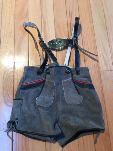 "Boys, Gray Suede Leather Lederhosen  Bavarian Short Oktoberfest 20.5"" waist"