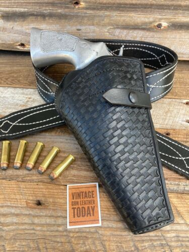 Vintage Berns Martin Basketweave Break Front Holster For S&W N Frame Revolver