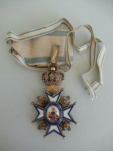 SERBIA ORDER OF ST. SAVA COMMANDER GRADE NECK BADGE. TYPE 1. RARE!! EF!