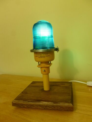 Vintage Cobalt Blue Globe Man Cave Airport Runway Taxiway Light Desk Lamp