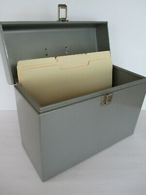 Vintage Portable Steel Metal Letter File Box 10 X 12-34 X 5-12