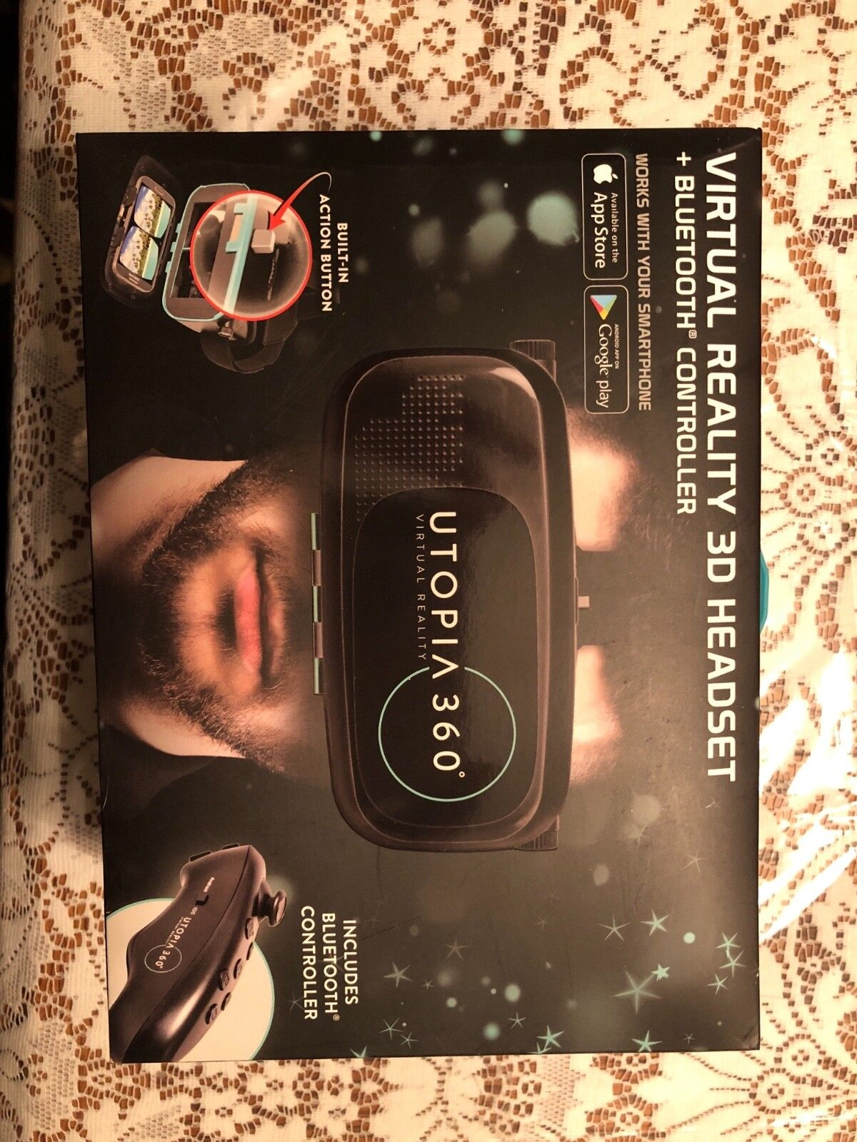 ReTrak Utopia 360 Virtual Reality 3D Headset Bluetooth Controller Apple Android