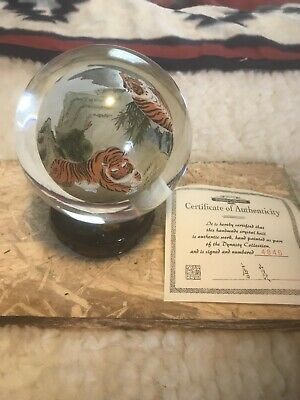 Tong Dynasty Collection Hand Painted Vintage Crystal Art Tiger Globe Ltd Edition