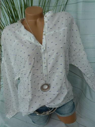 Esprit Bluse Damen Shirt Gr. 34 bis 44 weiß mit Muster Viskose (663)