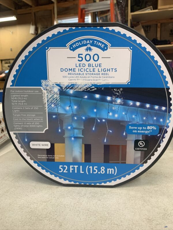 Holiday Time 66-090 LED 500-Count Blue Dome Icicle Lights 52′