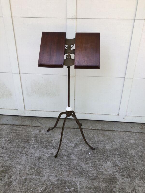 Antique Victorian Oak Wood & Cast Iron BOOK STAND  Adjustable~ Lamble, New York