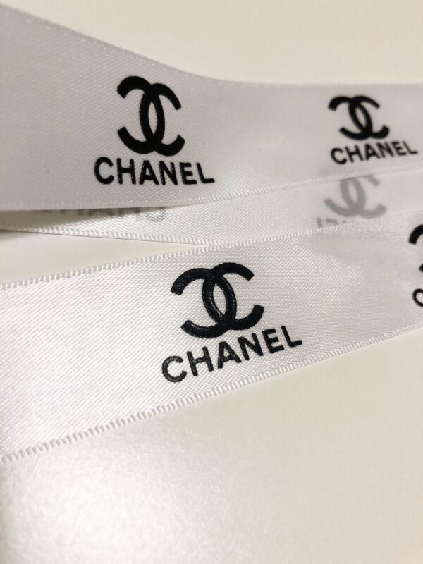"2 Yard - Chanel Ribbon White 1"" Wide Black Logo Gift Wrap Art Craft RARE"