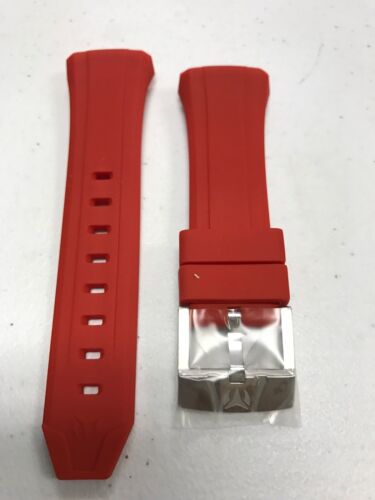 Authentic TechnoMarine Red Silicone Silver Buckle for 40mm C