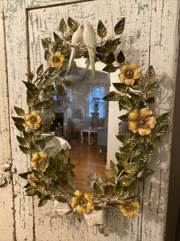 Antique Vintage Italian Tole Toleware Wall Mirror ITALY Yellow Wild Roses Birds