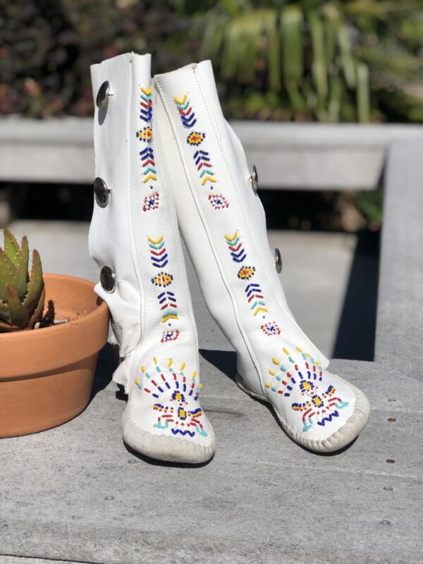 Vintage 1970s Taos White Leather Beaded Knee High Moccasin Boots