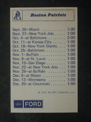 Vintage 1970 Nfl Properties Boston Patriots Schedule   Roster Ford Nmmt