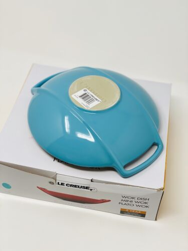 turquoise blue stoneware wok serving dish bowl