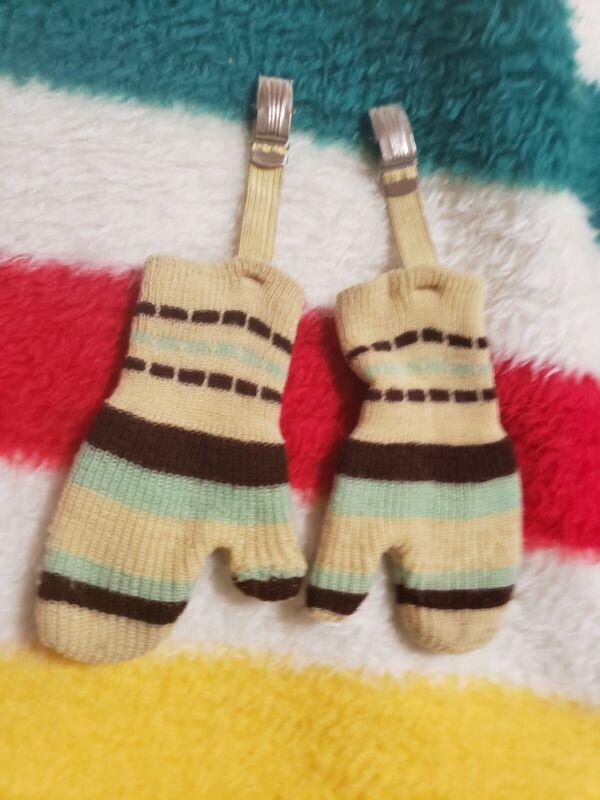 VTG Baby Winter Mittens Striped  Clips 50