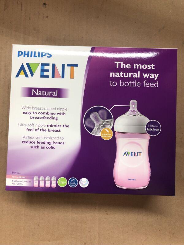PHILIPS AVENT Natural Baby Bottle 4 Pack 9 Oz Wide-Neck SCF013/48