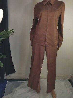 Co & Eddy Women's 2 piece Brown Cotton Pant Suit Size 12