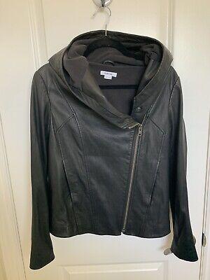 Helmut Lang Lamb Leather Hoodie Jacket Size Medium Black, Pre-owned Good