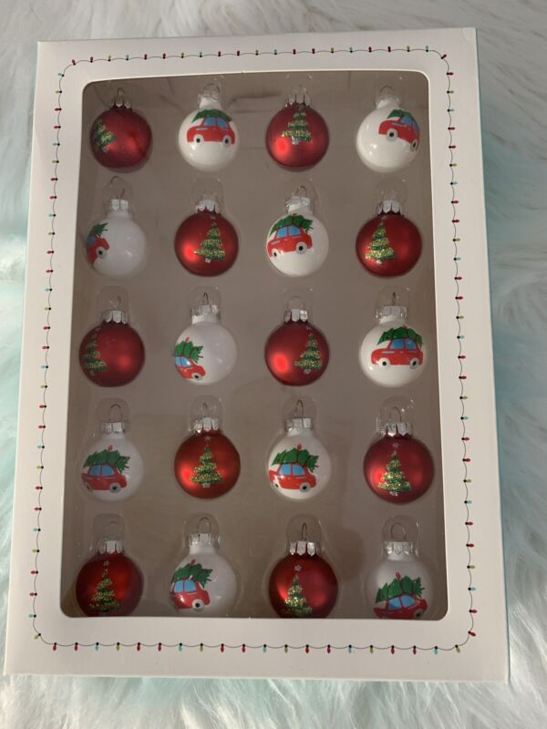 Queenwest Set 20 Red/White Car/Christmas Tree Glass Mini  Ornaments New In Box