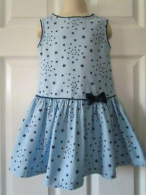 Beebay Cute! Blue Star Print Drop Waist Little Girl Dress Size 5