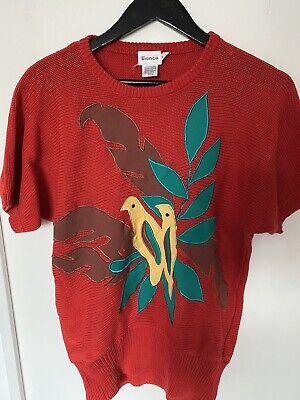Vintage Red Bird Motif Knitted Jumper Size M