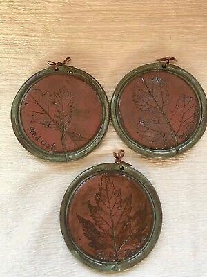 Lot of 3 Green & Brown Glazed Stamped Red Oak SUGAR MAPLE Black Cherry Leaf (Roun Brown)