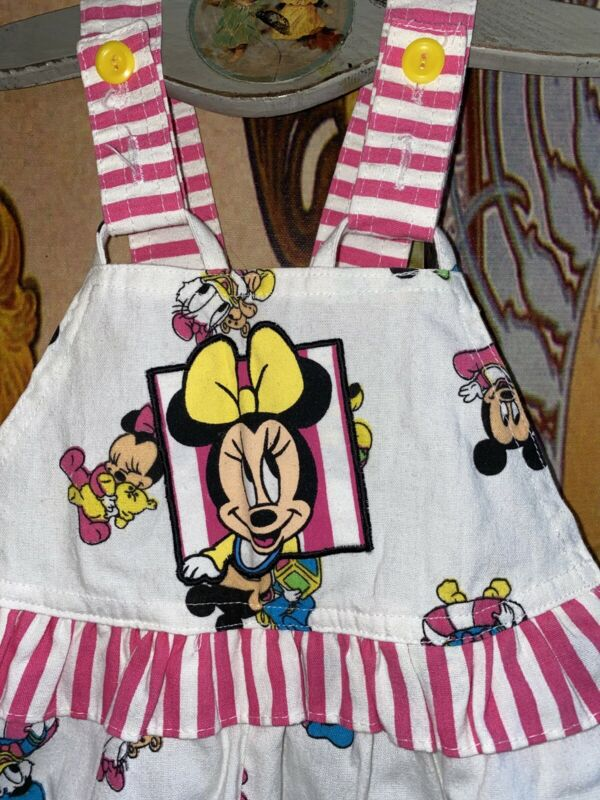 Vintage Baby Minnie Mouse Mickey Disney Ruffle Romper Jumper Overalls Size 18 Mo