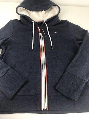 NWT Tommy Hilfiger Blue Zip Up Hoodie Jacket Faux Fur Hood Large L Stripe Logo