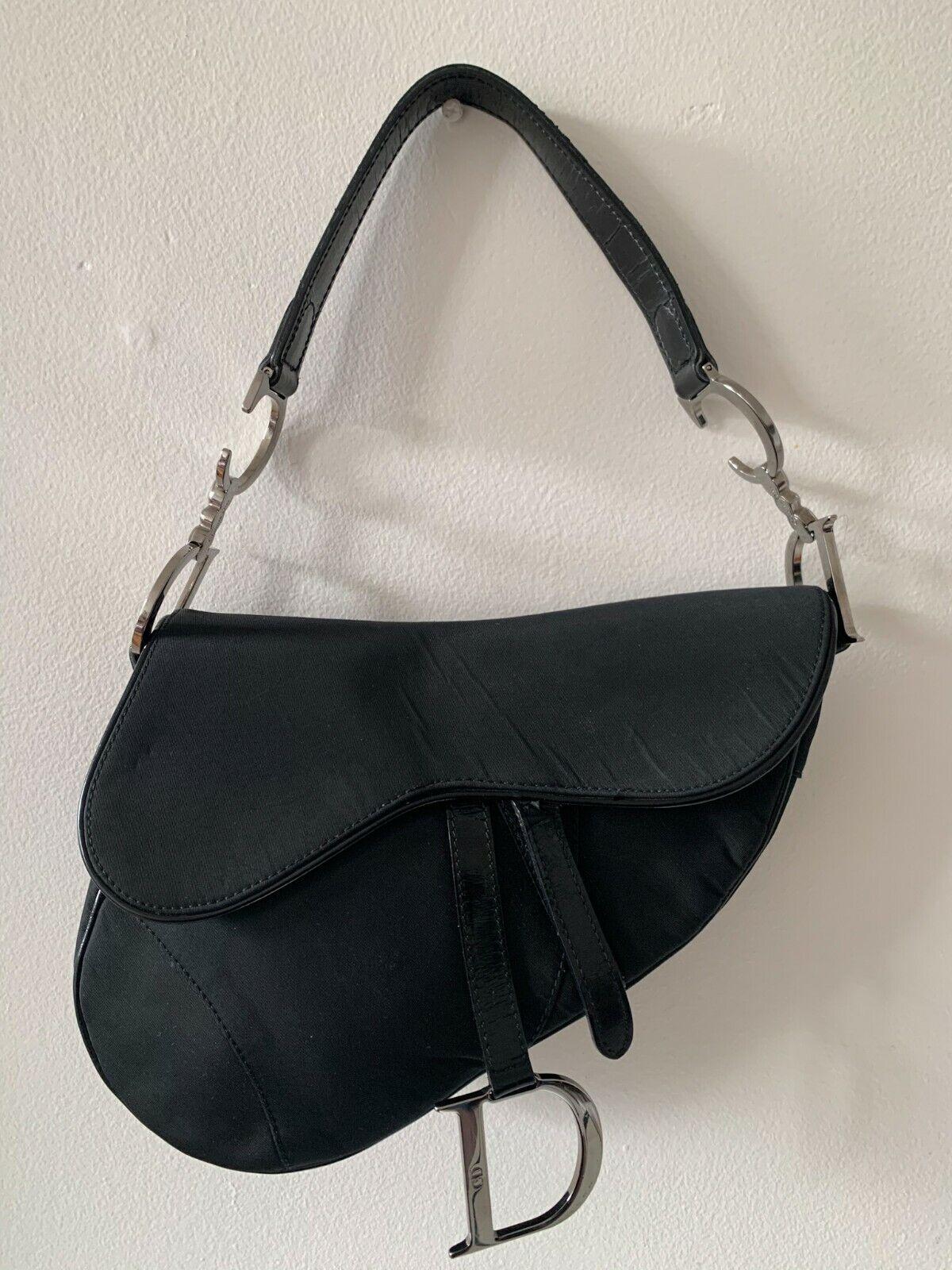 Christian Dior Black Saddle Bag Silver Hardware Collectible Vintage - $994.00