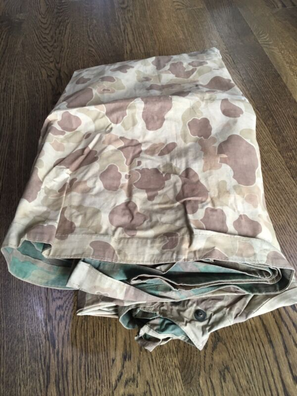 Early WWII USMC US army USN Reversible Camouflage Poncho Shelter Half