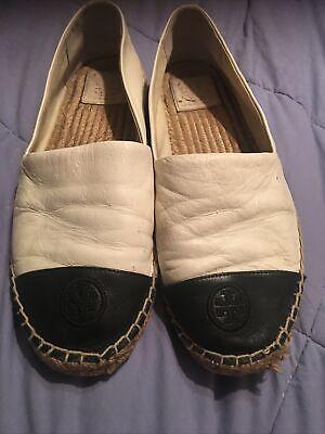 Tory Burch Leather Ivory Black Espadrille Flat shoe Cap-Toe US 8.5