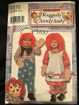 Simplicity Classic Raggedy Andy Toddler Costume Size AA Sewing Pattern 9375 NEW (Raggedy Andy Costume Toddler)