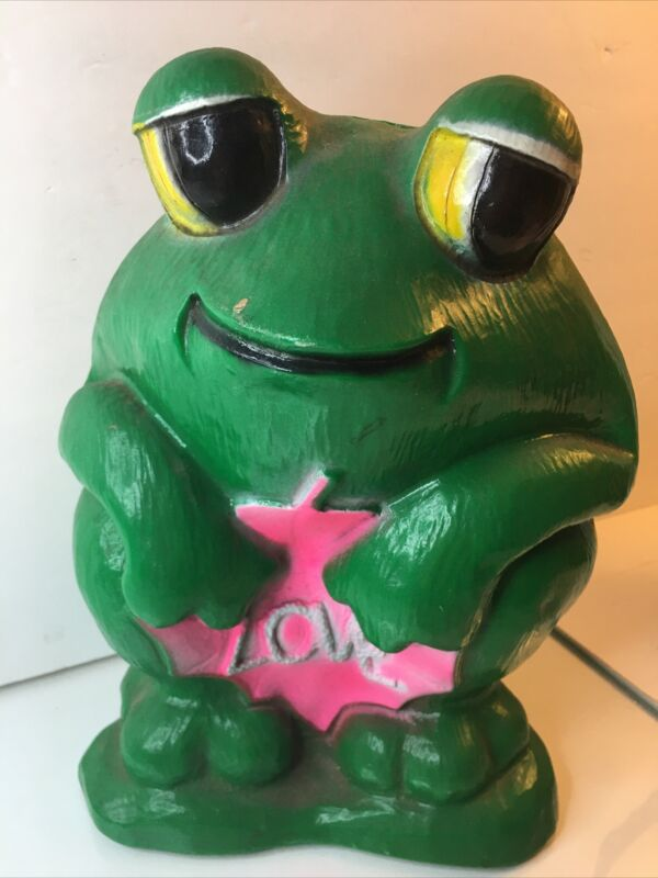 Vintage 1971 Frog Bank by Vinyl Products Co NY With LOVE vibrant green