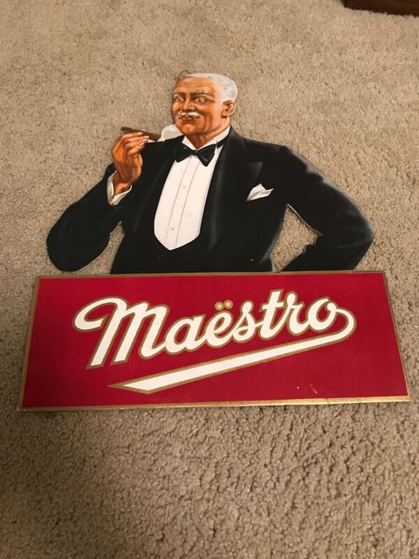 Original Maestro Cigar Sign Carboard Display Country Store Gas Oil Advertising