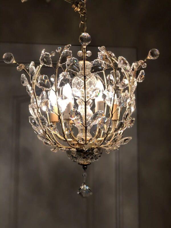 """18"""" Vintage Modern Schonbek Primrose Swarovski Crystal Chandelier Basket 6 Light"""