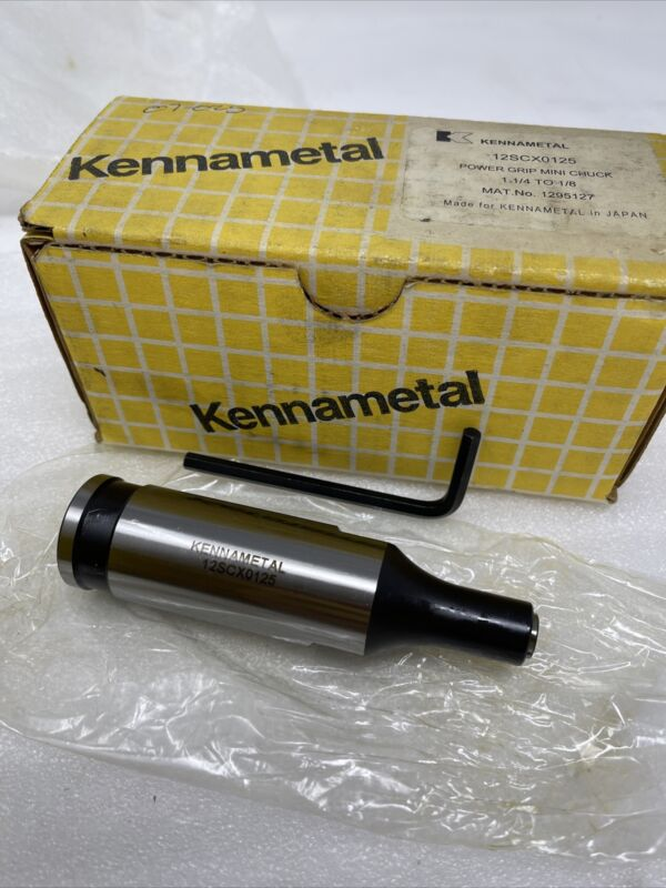 """New Kennametal 12SCX0125 Powergrip Mini Chuck, 1 1/4"""" to 1/8"""", includes collet"""