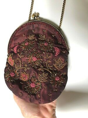 1920s Handbags, Purses, and Shopping Bag Styles April Cornell Purse metallic embroidered Vintage Style beads 7