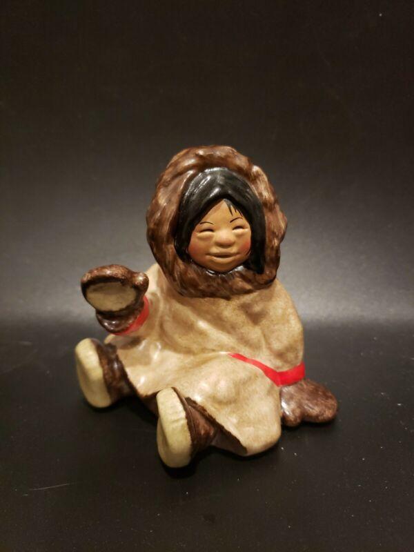 "C. Alan Johnson 1982 Signed ""Dinah"" Inuit Eskimo Girl Figurine 4 1/4"" Tall"