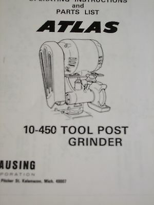 Atlas Lathe No.10-450 Tool Post Grinder Parts List Assenbly