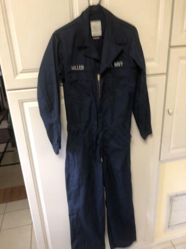 38 L US NAVY SAILOR BLUE 38 Long 38L Jumpsuit COVERALLS W Patches