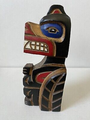 Haida Aboriginal Native Indian Wood Carving Wolf Painted Signed Pacific NW