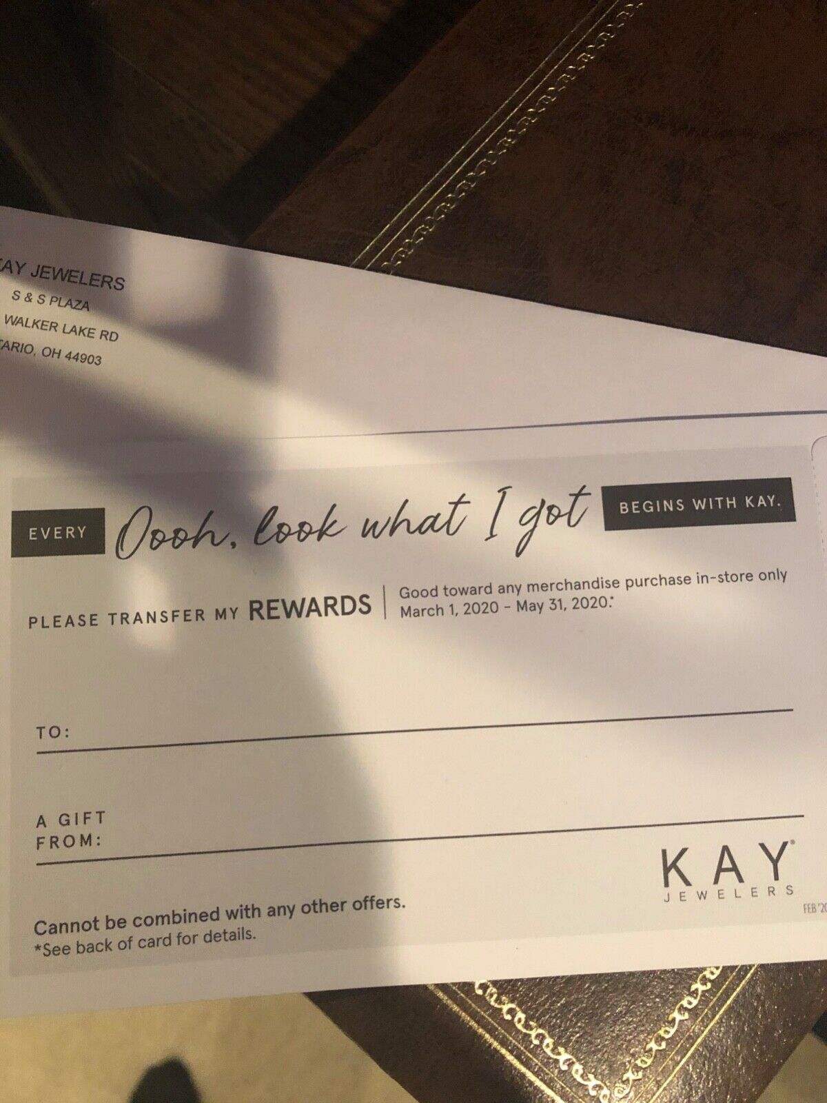Kay Jewelers 1300 Rewards Certificate Valid March 1, 2020 - May 31, 2020 - $280.00