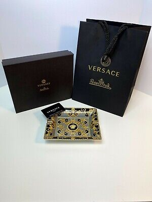 Versace Ashtray Rosenthal Cigarrette Ashtray Black And Gold New W/Box