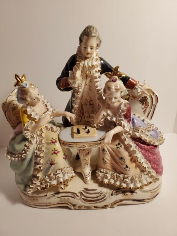 Antique German Dresden Porcelain 3 Figurine Group Man and Woman Chess Game