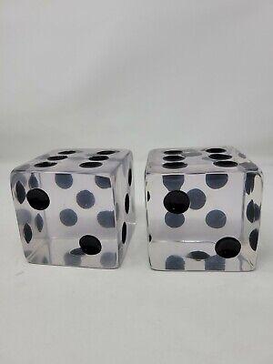 Pair Large Lucite Dice MCM Pop Art Black Dot Clear Retro Poker Decor Designer