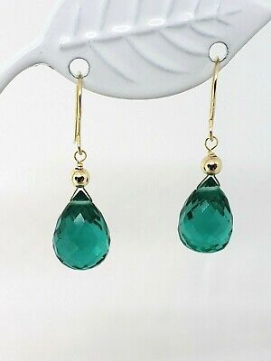 14k Yellow Gold Emerald Quartz Briolette Drop Dangle Earrings