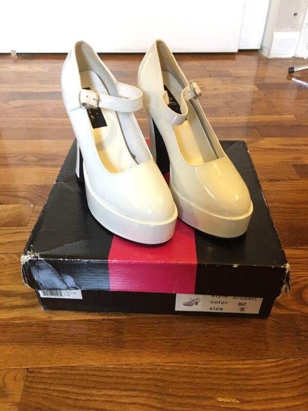 Cosplay White Lolita Costume 5 Inch Chunky Heels