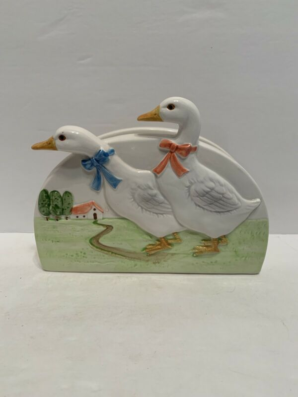 Vintage Ceramic Hand Crafted Napkin Holder with Geese by Otagiri 1980