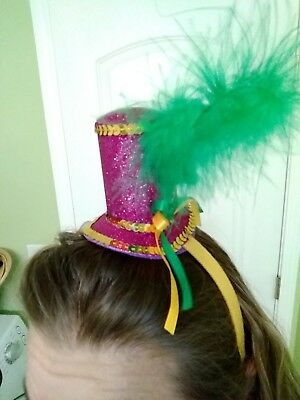 Mardi Gras Mini Tiny Top Hat Headband Feather Green Purple Fat Tuesday NWT ()