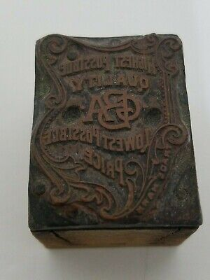 Antique Printer Press Wood Metal Stamp For Gba - Grocery Store