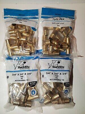 Lot Of 40sharkbiteapollo Pex Brass 34 X 34 X 34 Barb Tee Fittings